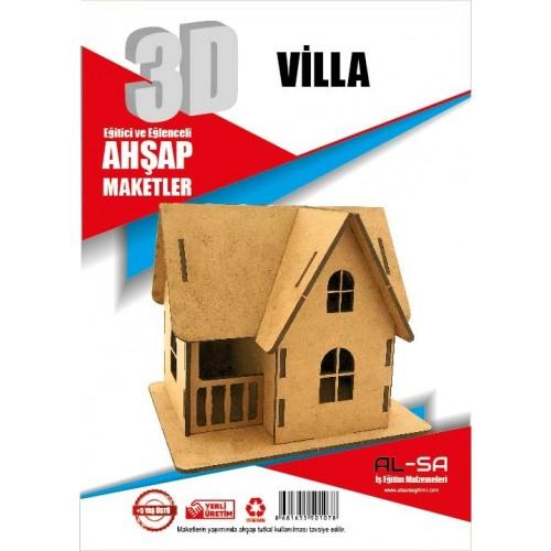 3D Villa Ahşap Maketi Eğlenceli ve Eğitici Oyuncak