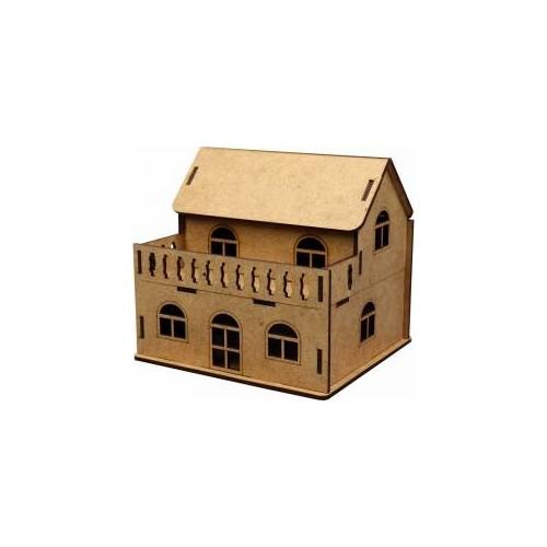 Balkonlu Ev Ahşap Maket Eğlenceli Eğitici Puzzle Oyuncak