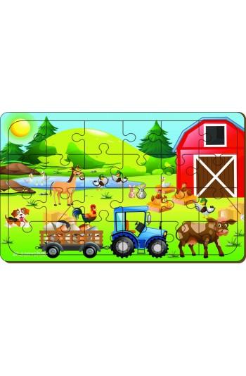 24 Parça Çiftlik Ahşap Puzzle