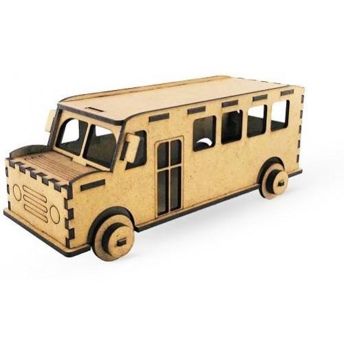 3 Boyutlu Ahşap Otobüs Maketi Eğitici ve Eğlenceli Oyuncak